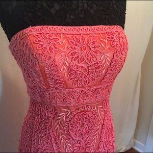 Coral Embellished Strapless Dress